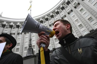 Фото Укринформ:мегафон звучит по-украински