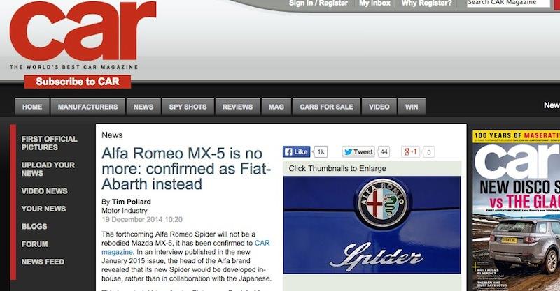 マツダ・ロードスターとプラットフォームを共有するのはアルファロメオではなくアバルトに?