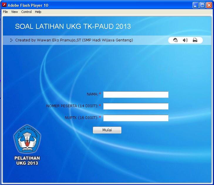 Contoh tampilan depan Aplikasi UKG Online 2013 untuk TK-PAUD