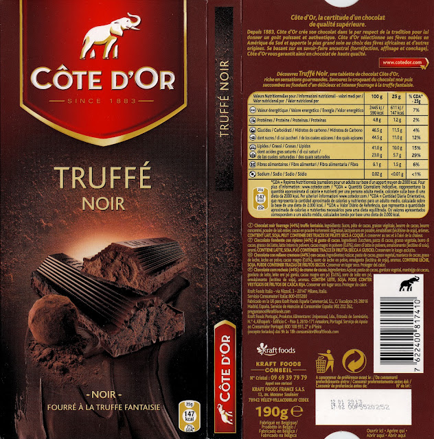 tablette de chocolat noir fourré côte d'or truffé noir