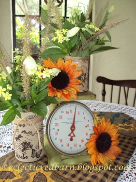 Eclectic Red Barn:Fall centerpiece with burlap wrapped containers