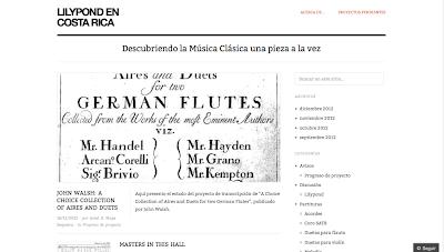 LIlypond en Costa Rica.    Publicación de partituras, videos y anotaciones sobre música para violín, flauta o piano, tanto sólos como dúos y acompañamientos.