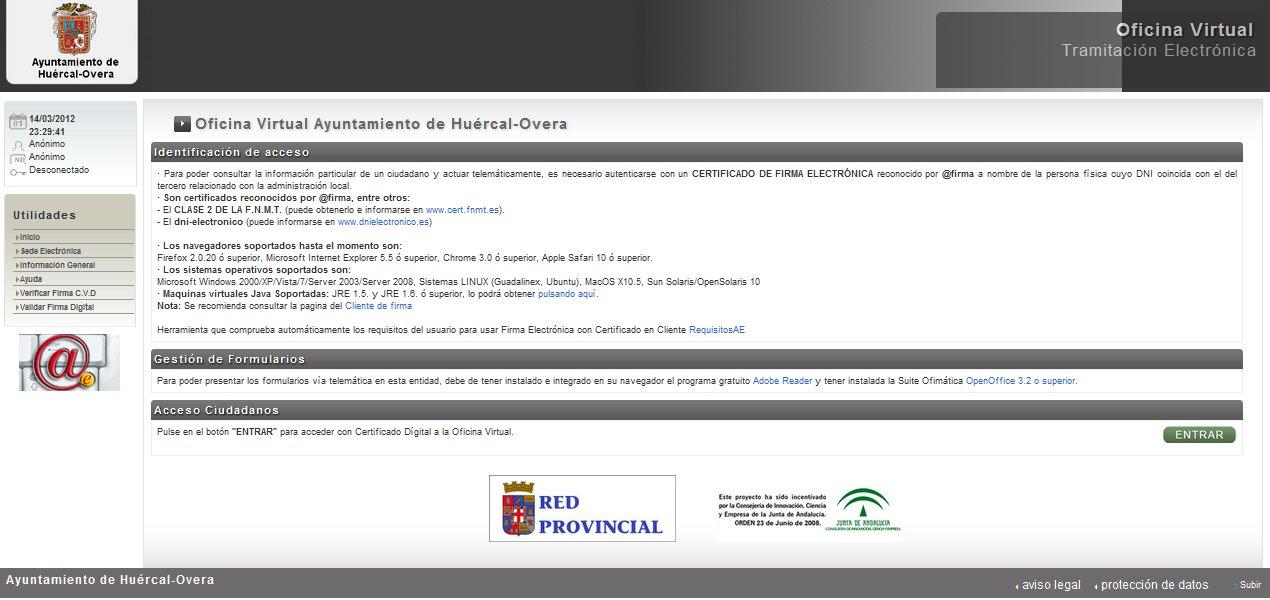 Centro guadalinfo hu rcal overa tr mites electr nicos con for Oficina virtual de tramits