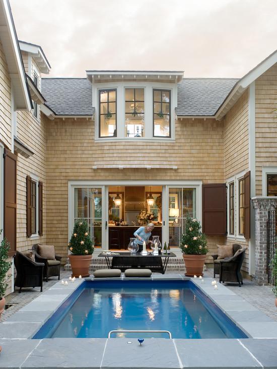 ide kolam renang kecil minimalis desain denah rumah