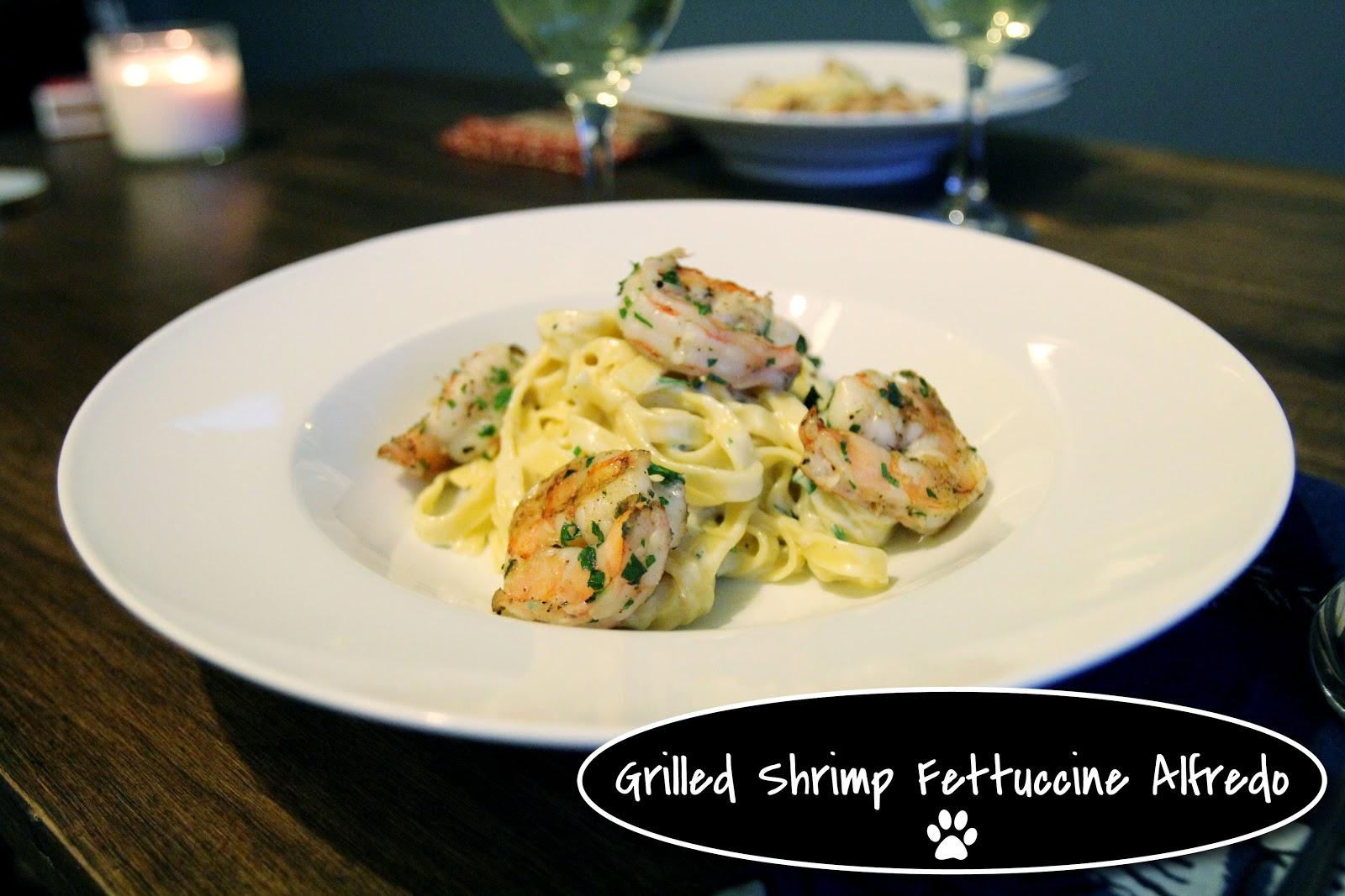 Fettuccine Alfredo with Grilled Shrimp