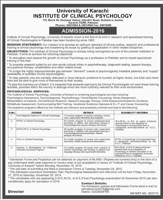 Institute of Clinical Psychology University of Karachi Admissions 2016