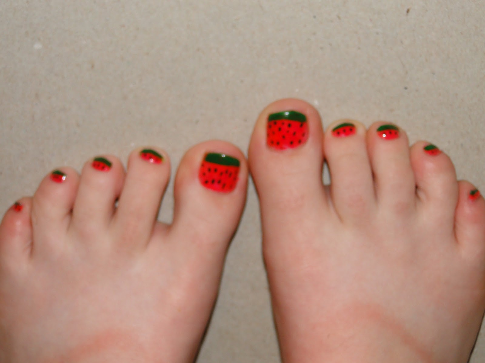WeeklyWackyNails: Watermelon Nail Art (pedicure)