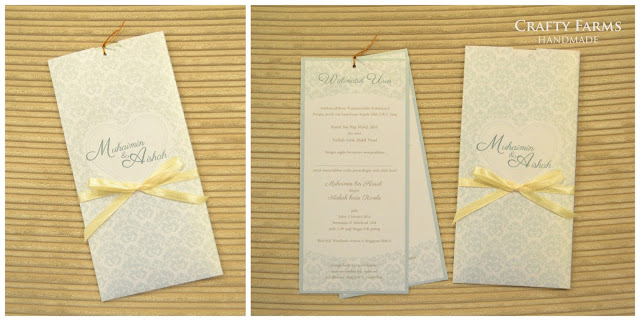 Handmade Vintage Baby Blue Pattern Damask Pocket Invitation Card Seremban