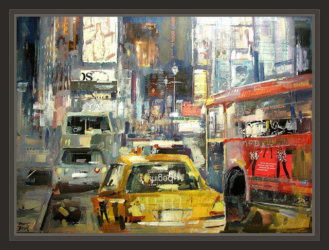 NUEVA YORK-NY-NEW YORK-PAISAJE-URBANO-PINTURA-CUADROS-PAINTINGS-ERNEST DESCALS-