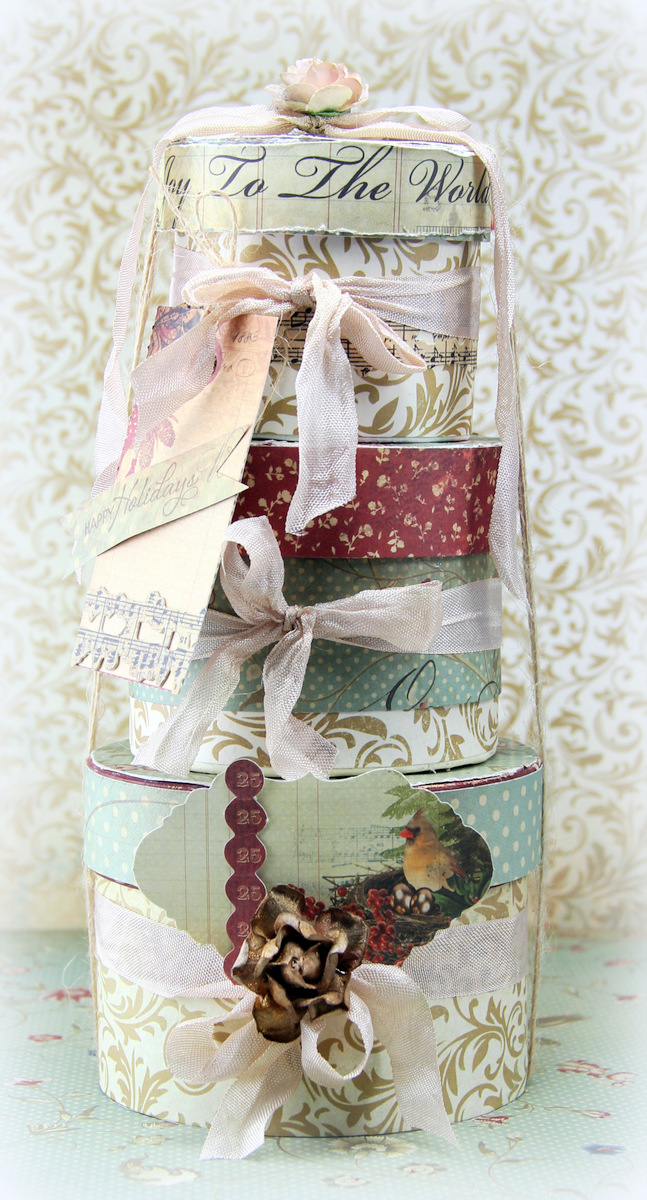Tiffanys paper designs altered stacked christmas boxes