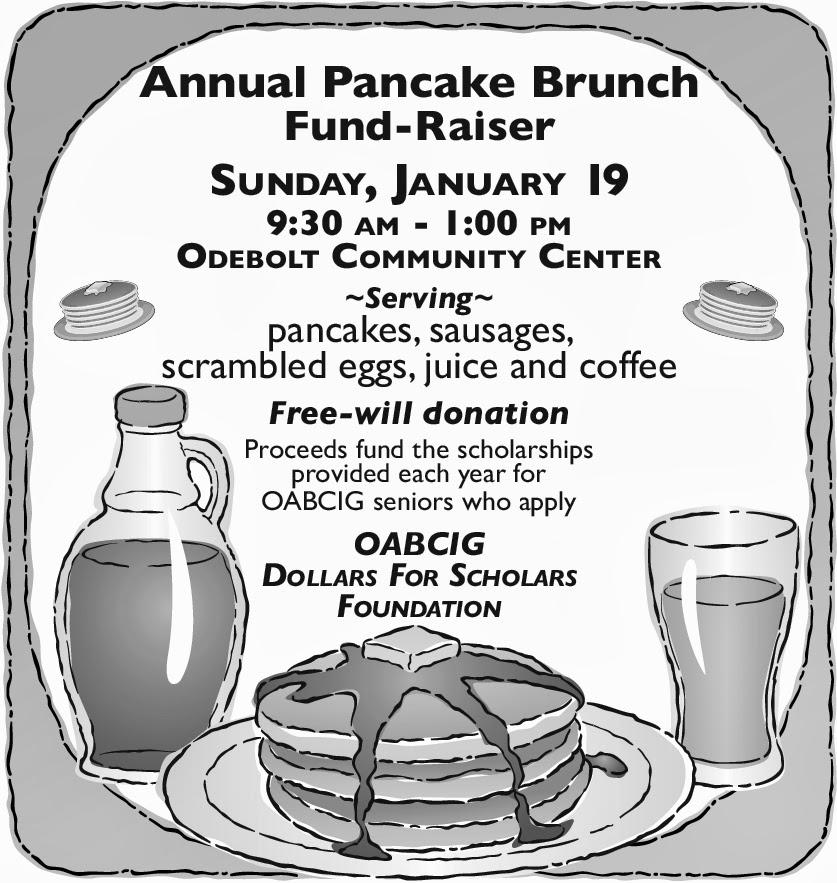 Sunday, Jan. 19, 9:30-1; pancake brunch at Odebolt Comm. Center