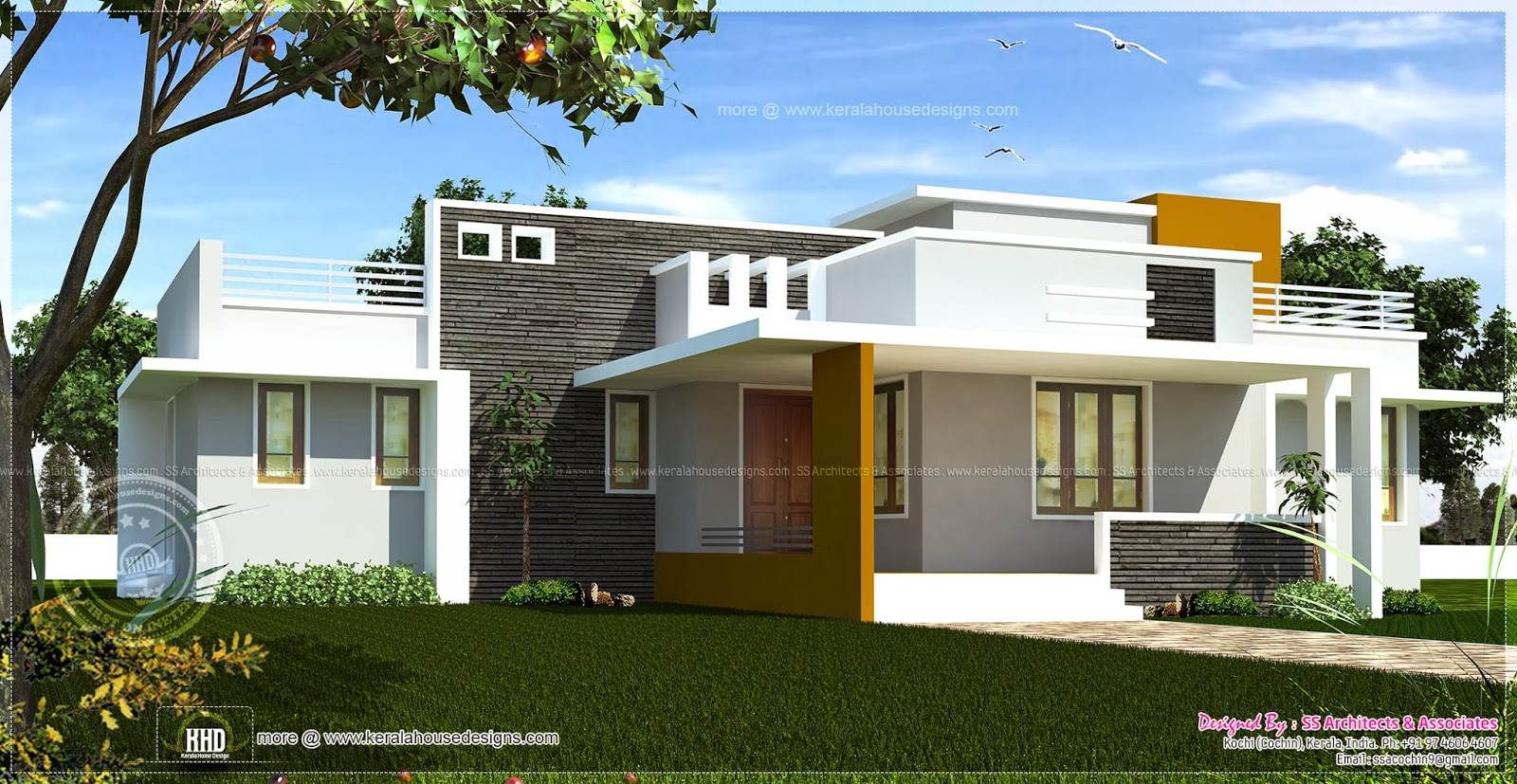 Single floor contemporary house design kerala home for Single floor house plans