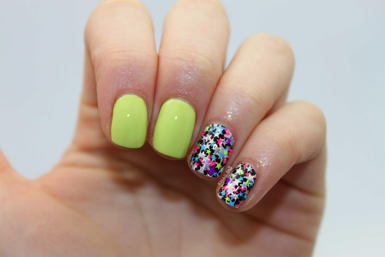 knailart: NOTD: Kiss Neon Star Nail Strips + O.P.I. Life Gave Me Lemons