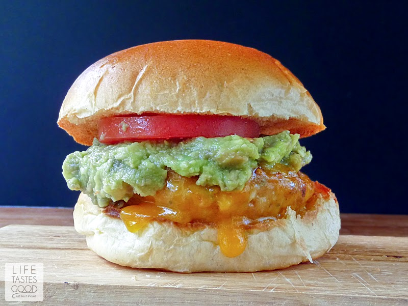 Chicken Cheddar and Guacamole Burgers | Life Tastes Good