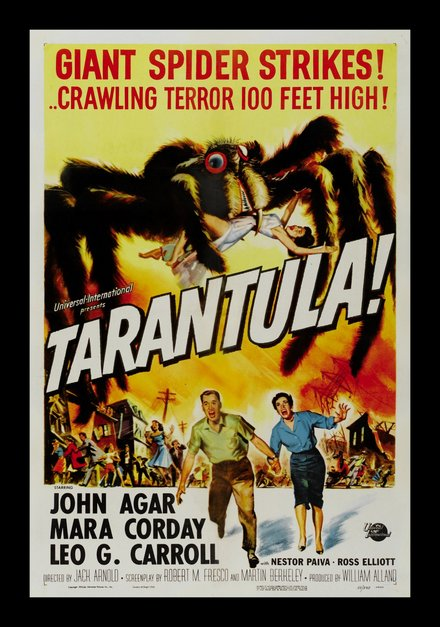 printables, classic posters, free download, graphic design, horror movie, movies, retro prints, theater, vintage, vintage posters, Tarantula! Giant Spider Strikes!  - Vintage Horror Movie Poster