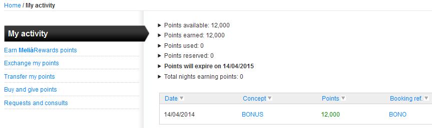 Meliá Rewards 12.000 punktow bonusowych