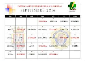 FARMACIAS DE GUARDIA MES DE SEPTIEMBRE 2016