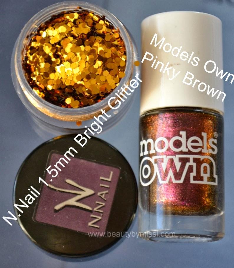 N.Nail 1.5mm Bright Glitter, Models Own Pinky Brown, KKCenterHk