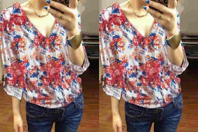 Atasan Blouse Flowers Full Print - 10216