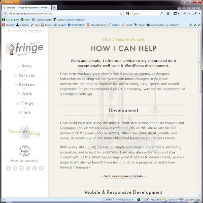 Screen shot of http://fringewebdevelopment.com/services.