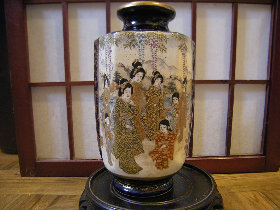Antique Japanese Meiji Period Cobalt Blue Satsuma Vase Signed Hotoda 保土田 薩摩焼