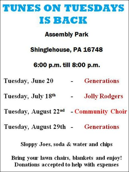 7-18 Tunes On Tuesday, Shinglehouse Assembly Park
