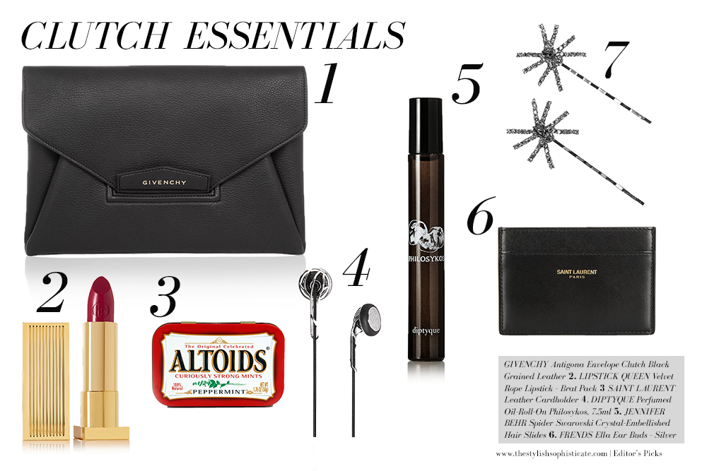 business networking party clutch essentials, networking essentials, how-to, NYFW, new york fashion week, nyc how to pack a clutch, givenchy clutch, diptyque perfume, lipstick queen red lipstick, saint laurent YSL business card holder, business, business casual, casual friday, career fashion, casual office, office attire, office wear, officewear, work clothes for women, work fashion, work wardrobe, workwear, professional style, apparel, clothing, fashion blog, fashion website, new york fashion, designer clothing, 9 to 5 chic