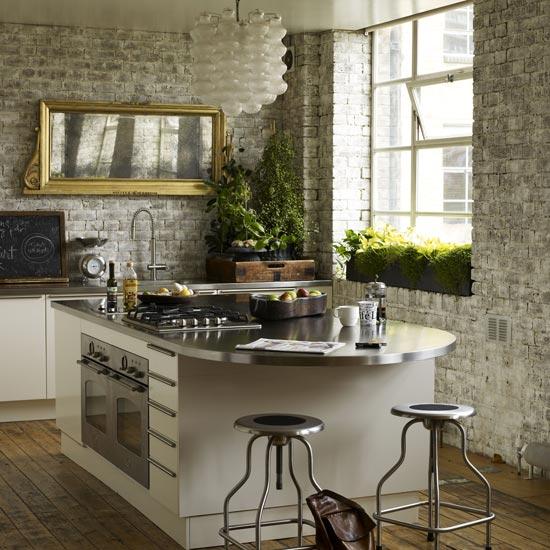 cocinas con pared de ladrillo visto