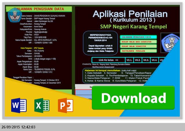 [Rombel] Aplikasi Penilaian Kurikulum 2013 SMP dengan Excel