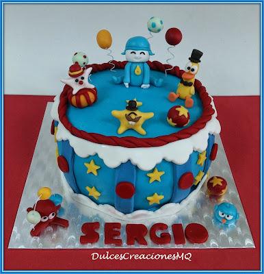 Tarta Pocoyó Pastel Cake Torta Cumpleaños Infantil Aniversario Pato Pájaro Pulpo Malabaristas Estrellas Circo Fondant Bizcocho Chocolate Buttercream Vainilla Crema Feliz