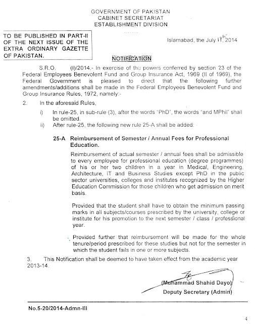 GOVERNMENT OF PAKISTAN CABINET SECRETARIAT ESTABLISHMENT DIVISION NOTIFICATION NO.5-20/2014 ADMIN-III DATED: 17-07-2014