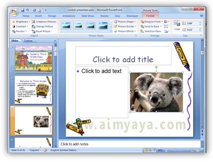 Gambar:  Contoh hasil penyisipan file gambar ke dalam slide presentasi powerpoint