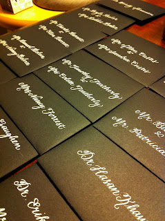 wedding escort cards calligraphy