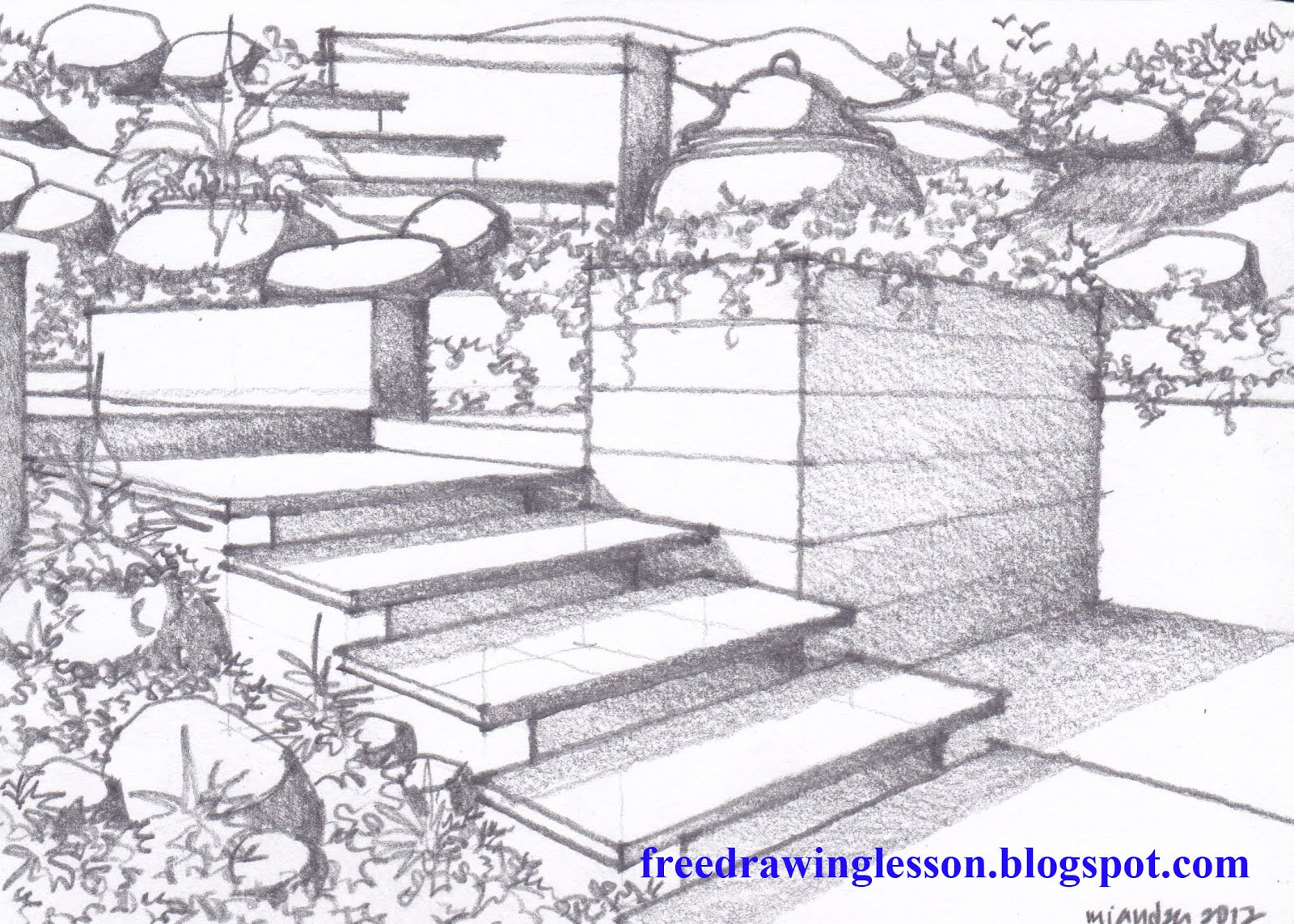 Garden drawing pictures - How To Draw A Garden