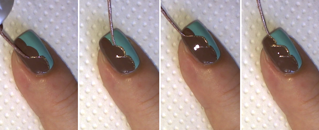 Brown and gold nail art ideas : Women elegant blue brown gold nail art easy cute designs