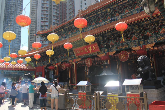 The beauty of traditional Chinese Architecture concept of Wong Tai Sin Temple at Kowloon, Hong Kong