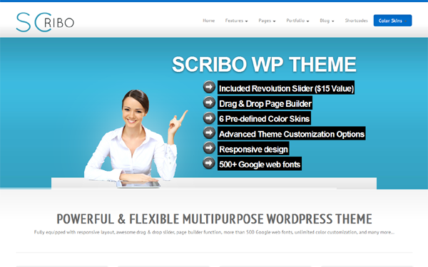 Scribo multi-purpose responsive wordpress theme