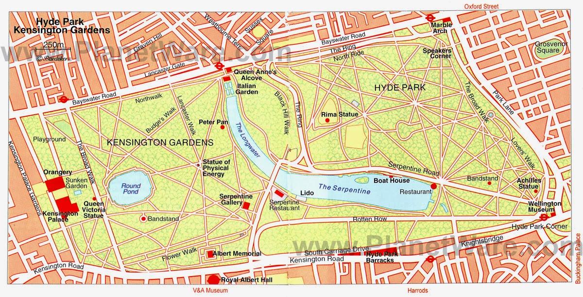Hyde Park Kensington Gardens Map on Kensington Palace Gardens Map