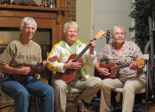 playing ukuleles