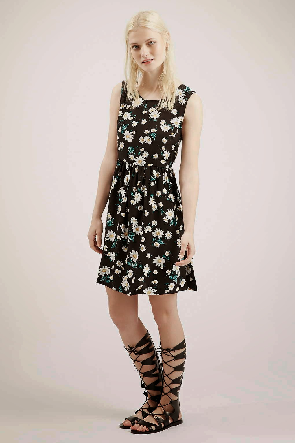 glamorous black white skater dress,