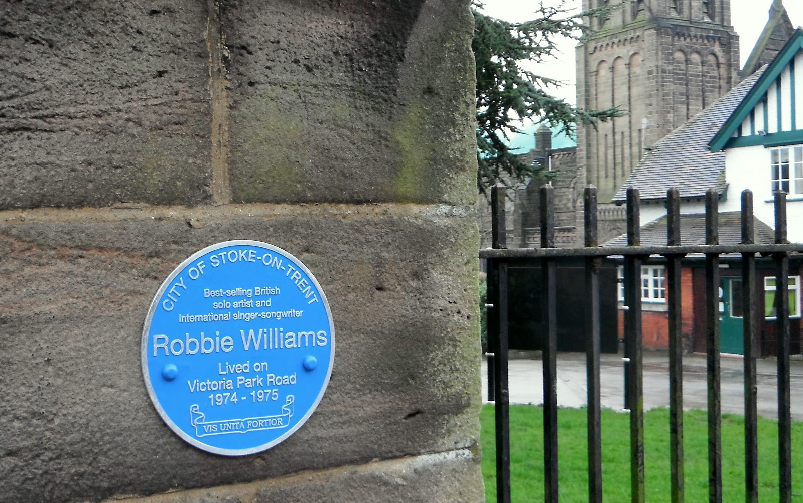 Robbie Williams plaque in Tunstall
