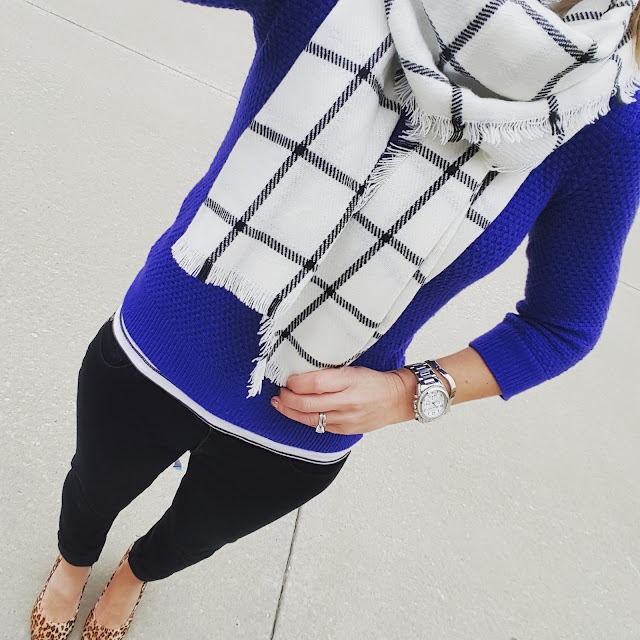 Gap Sweater (similar) // H&M Tank (similar) // 7 For All Mankind Jeans - 50% off! // Jessica Simpson Wedges (similar) // Merona Scarf // Michael Kors Watch