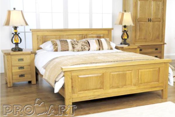 Giường cưới, Giường đôi gỗ sồi kiểu Rustic, pano 3 khoang, đuôi cao 1m6