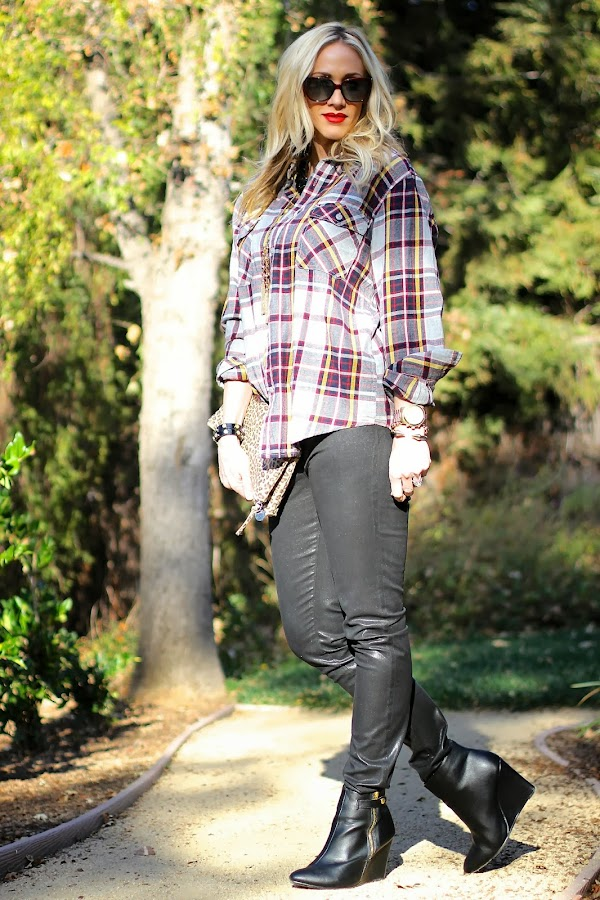 coated denim with plaid