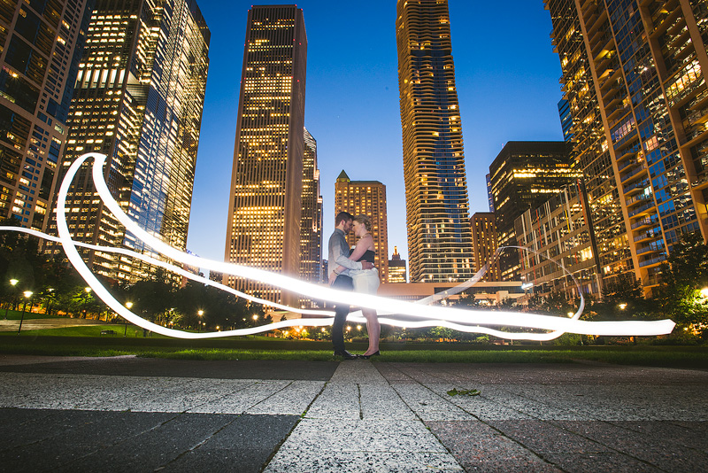 Chicago Anniversary Portrait Light Painting