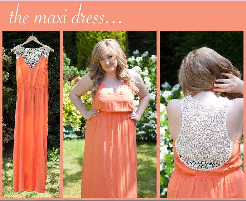 Topshop Summer Coral Crochet Maxi Dress