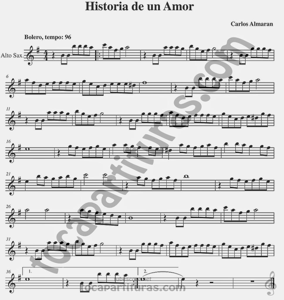 Historia de un Amor Partitura de Flauta, Violín, Saxo Alto, Oboe, Trompeta, Saxofón Tenor, Soprano Sax, Clarinete, Trompeta, Cornos, Trompa, Barítono, Voz... Partitura de Bolero Sheet Music in treble clef for violin, flute, alto saxophone, trumpet, clarinet, horn, flugelhorn, baritone, voice...