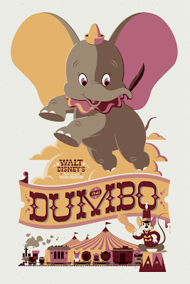 Mondo Disney Classic Cartoon Series - Dumbo Screen Print by Tom Whalen