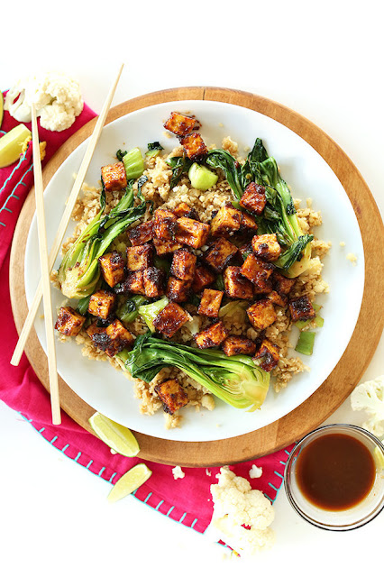 Crispy Peanut Tofu And Cauliflower Rice Stir Fry post holidays meals recipes