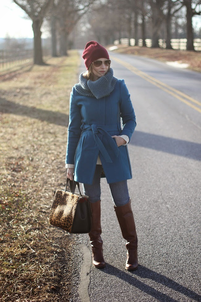 BP beanie, ray ban aviators, anthropologie coat, boden bag, old navy rockstar jeans, nine west boots, jcrew ring, jcrew sweater